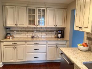 after pictures west orange mayfair Ivory Kitchen Cabinets with Granite Countertops and Black Knobs Drawer Pulls