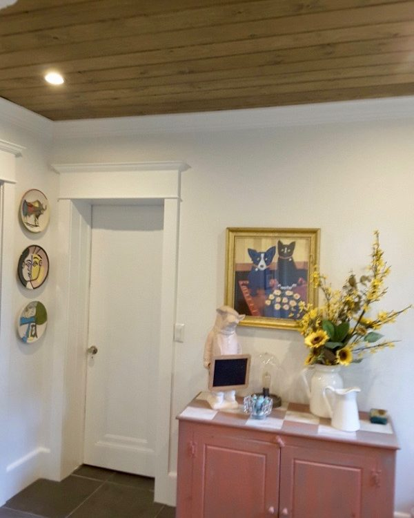 after west orange merrywood Beadboard Ceiling Powder Room off of the Kitchen