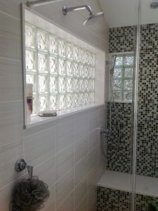 bathroom Glass Block Window Mosaic Tile and Bench in Standing Shower