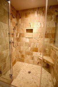 bathroom west orange 1 Frameless Glass Enclosure Granite Tile Floating Shower Seat