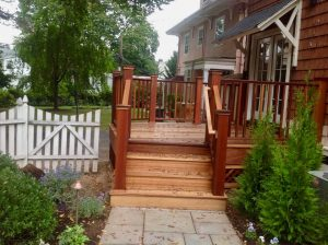 gates montclair exterior Mahogany Deck Staircase