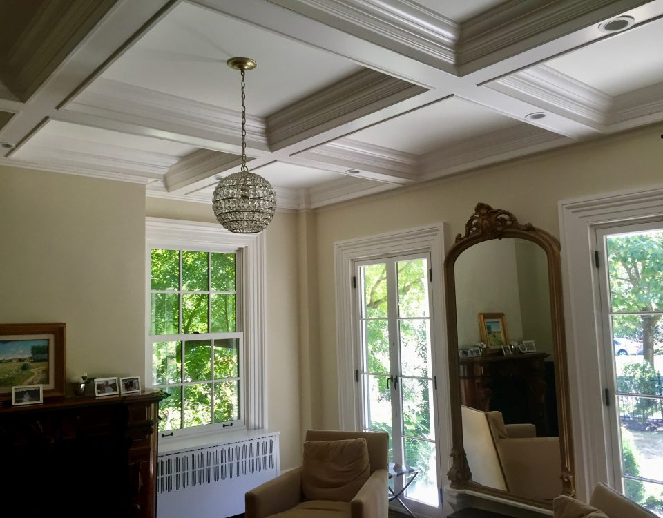 interior propect1 Coffered Ceiling in Living Room French Doors