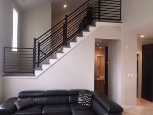 interior west orange whalen Living Room Remodel Wrought Iron Staircase