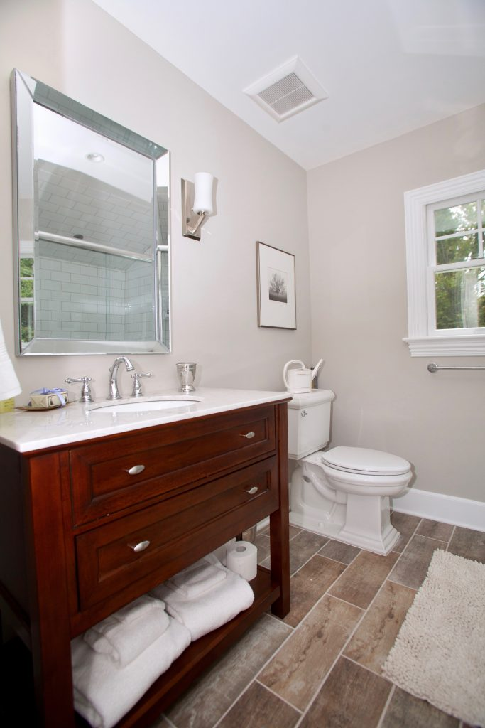 Madison Prospect Cherry Bathroom Vanity White Fixtures And Ceramic Bathroom  Tile Flooring