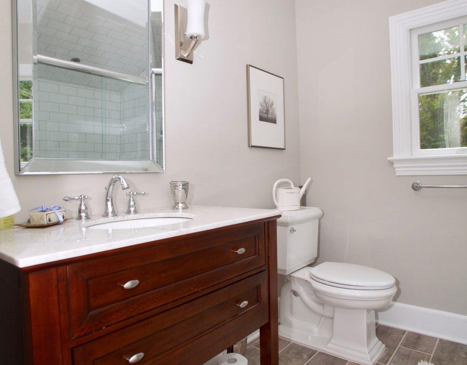 madison prospect Cherry Bathroom Vanity White Fixtures and Ceramic Bathroom Tile Flooring
