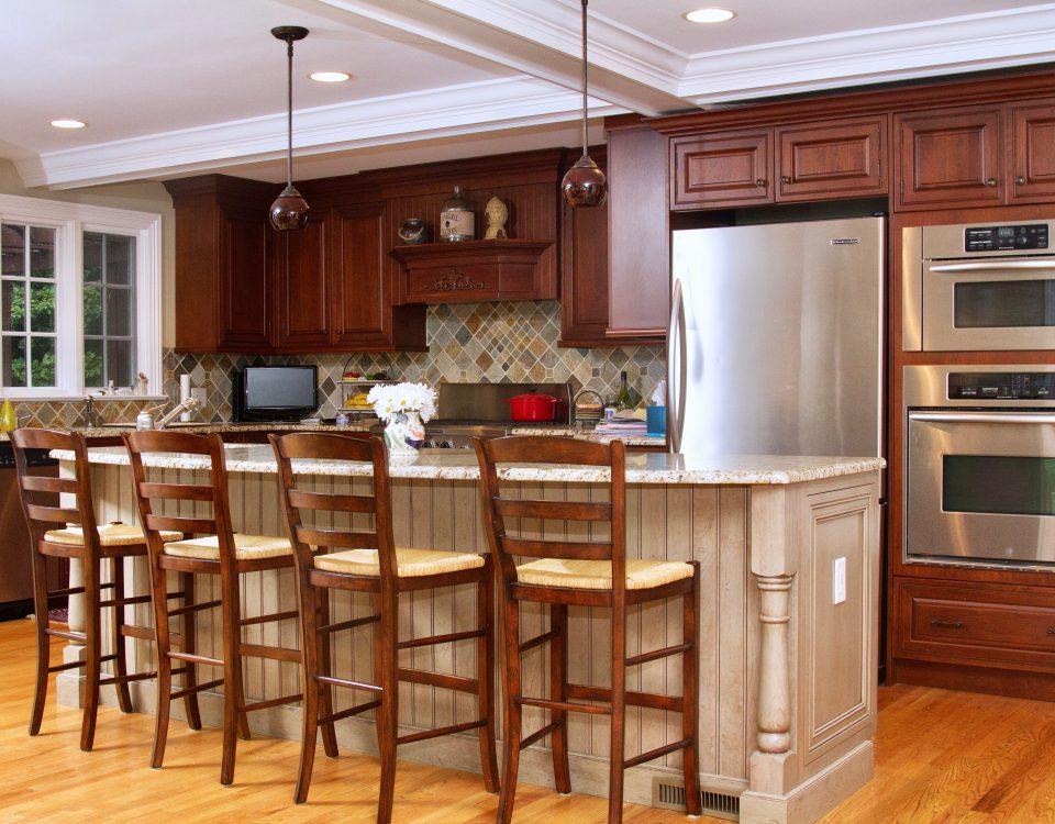 madison prospect SLIDER Granite Countertops Breakfast Bar Kitchen Island Crown Moulding Paneled Ceiling
