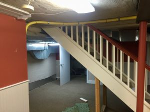 madison woodland interior Basement Staircase Before1