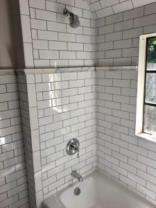 west orange merrywood Hall Bathroom White Subway Tile After